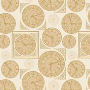 Lewis & Irene - Britannia - 6440 - Big Ben Collage, Tan on White  - A348.1 - Cotton Fabric